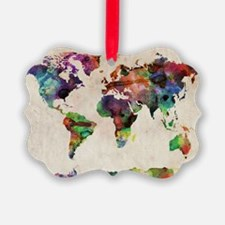 World Map Urban Watercolor 14x10 Ornament
