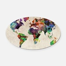 World Map Urban Watercolor 14x10 Oval Car Magnet