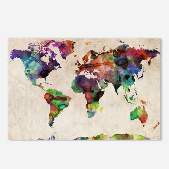 World Map Urban Watercolo Postcards (Package of 8)