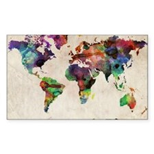 World Map Urban Watercolor 14x Stickers