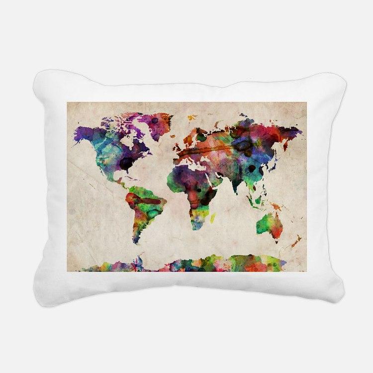 World Map Urban Watercol Rectangular Canvas Pillow