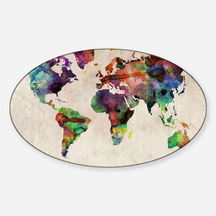 World Map Urban Watercolor 14x10 Bumper Stickers