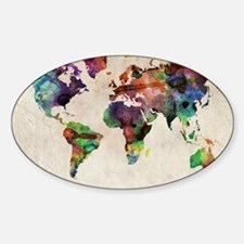 World Map Urban Watercolor 14x10 Decal