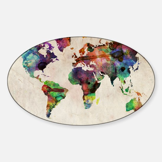 World Map Urban Watercolor 14x10 Sticker (Oval)