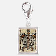 Tapa Turtle Silver Portrait Charm