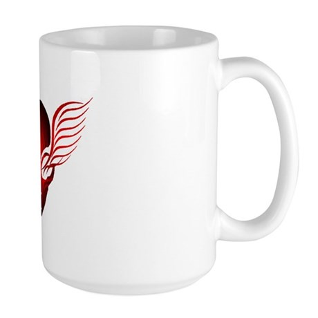 On the Wings of Aliens Red Stripe Large Mug