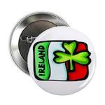 Ireland Flag Shamrock Button