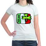 Ireland Flag Shamrock Jr. Ringer T-Shirt