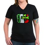 Ireland Flag Shamrock Women's V-Neck Dark T-Shirt