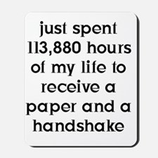 10x10Paper and Handshake FRONT (BLK) Ima Mousepad