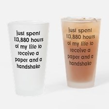 10x10Paper and Handshake FRONT (BLK Drinking Glass