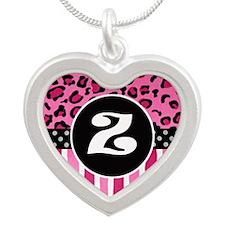 Cheetah Z Silver Heart Necklace