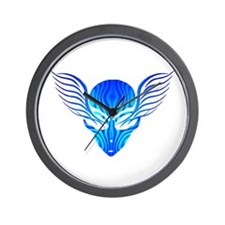 On the Wings of Aliens Blue Stripe Wall Clock
