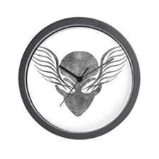On the Wings of Aliens Grey Wall Clock