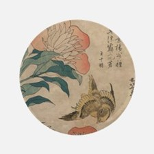 "Hokusai Peony and Canary 1 3.5"" Button"