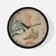 Hokusai Peony and Canary 1 Wall Clock