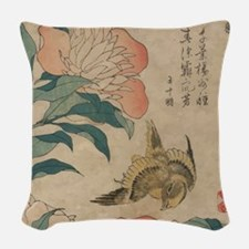 Hokusai Peony and Canary 1 Woven Throw Pillow