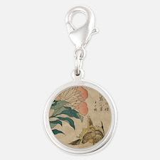 Hokusai Peony and Canary 1 Silver Round Charm