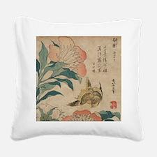 Hokusai Peony and Canary 1 Square Canvas Pillow