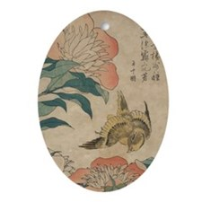 Hokusai Peony and Canary 2 Oval Ornament