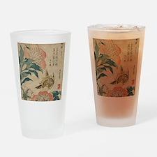 Hokusai Peony and Canary 2 Drinking Glass