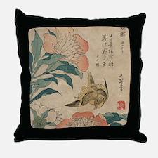 Hokusai Peony and Canary 2 Throw Pillow