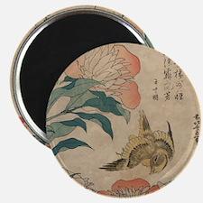 Hokusai Peony and Canary 2 Magnet