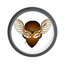 On the Wings of Aliens Brown Wall Clock