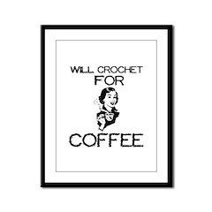 Will Crochet for Coffee Framed Panel Print