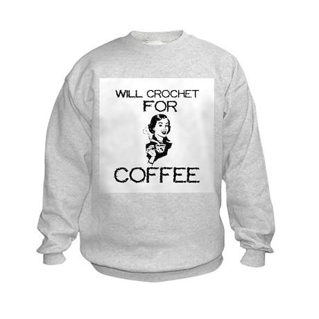 Will Crochet for Coffee Kids Sweatshirt