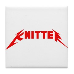 Rock and Roll Knitter Tile Coaster