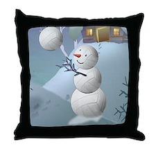 Volleyball Snowman Sports Christmas Throw Pillow