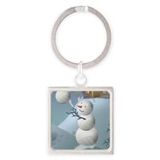 Volleyball Snowman Sports Christma Square Keychain