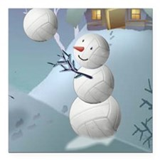 """Volleyball Snowman Sport Square Car Magnet 3"""" x 3"""""""