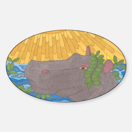 Hippo Happiness Sticker (Oval)