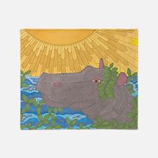Hippo Happiness Throw Blanket
