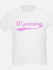 Vintage Wyoming (Pink) Kids T-Shirt