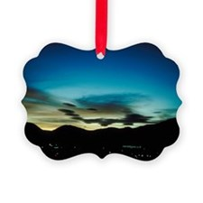 Sunset over city by mountains, Bu Ornament