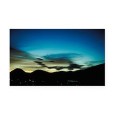 Sunset over city by mountains Rectangle Car Magnet