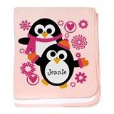 Personalized penguin pink Blanket