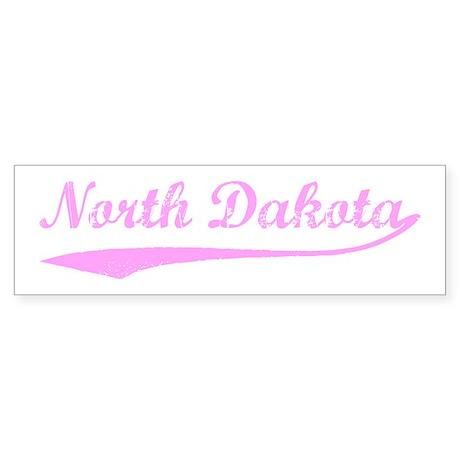 Vintage North Dakota (Pink) Bumper Sticker