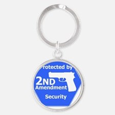 9mm HandGun2Silhouette Round Keychain