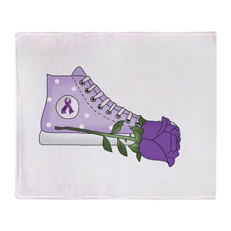 Walk a Mile in My Shoes Lupus Black Throw Blanket