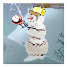 "Baseball Snowman Christm Square Car Magnet 3"" x 3"""