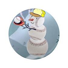 "Baseball Snowman Christmas 3.5"" Button"