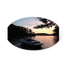 Cute Lake Oval Car Magnet