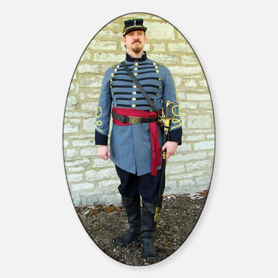 Confederate Reenactor Notecard jpeg Sticker (Oval)
