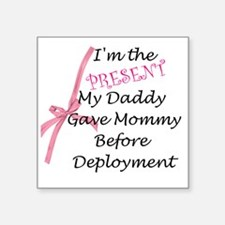 """Present from Daddy-Girl Square Sticker 3"""" x 3"""""""