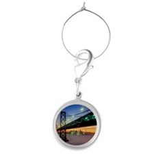 San Francisco-Oakland Bay Bridge Round Wine Charm