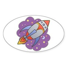 Retro Rocket Oval Decal